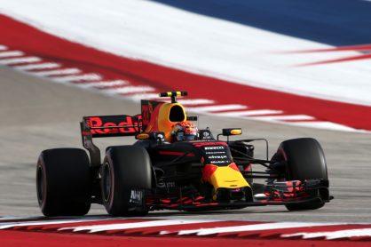 F1 Foto Poster van Max Verstappen tijdens de GP van Amerika, Red Bull Racing 2017