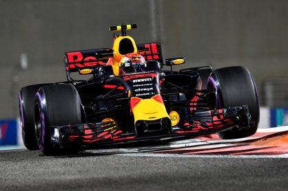 F1 Foto Poster van Max Verstappen tijdens de GP van Abu Dhabi, Red Bull Racing 2017